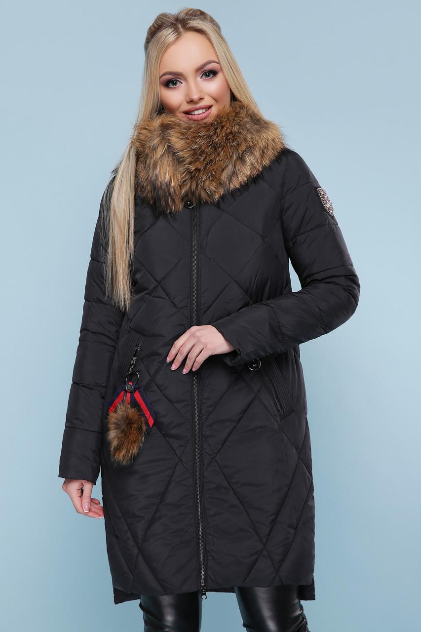 Теплый женский пуховик с натуральным мехом черный
