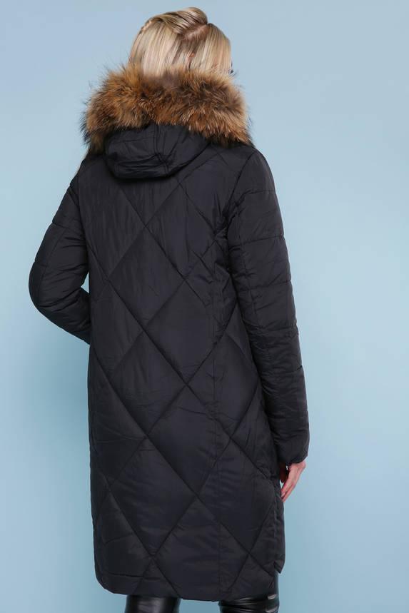 Теплый женский пуховик с натуральным мехом черный, фото 2
