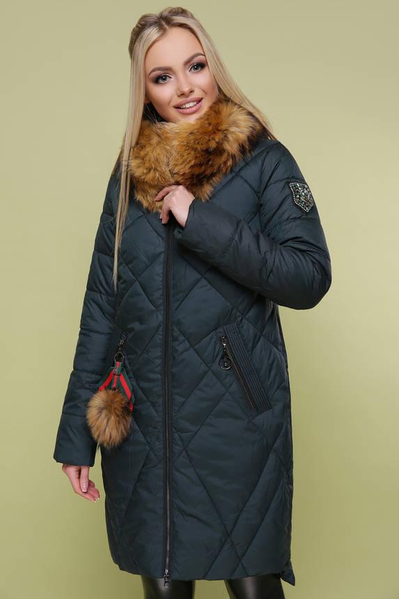 Теплый женский пуховик с натуральным мехом изумрудный, фото 2
