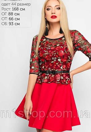 Женское расклешенное платье с сеткой и вышивкой (3162 lp), фото 2