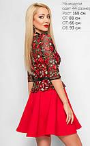 Женское расклешенное платье с сеткой и вышивкой (3162 lp), фото 3