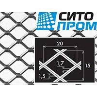 Просечно-вытяжной лист,черная сталь,квадратная вальцованная форма ячейки TCMQ20/15x1,7x1,5/1000x2000,Код:02515