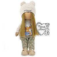 Текстильна лялька велика, ручна робота. Лялька сніжку. Лялька тільда.
