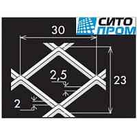 Просечно-вытяжной лист,черная сталь,квадратная вальцованная форма ячейки TCMQ30/23x2,5x2/1250x2500,Код:02531