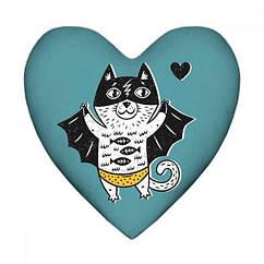 Подушка сердце Batman Кот