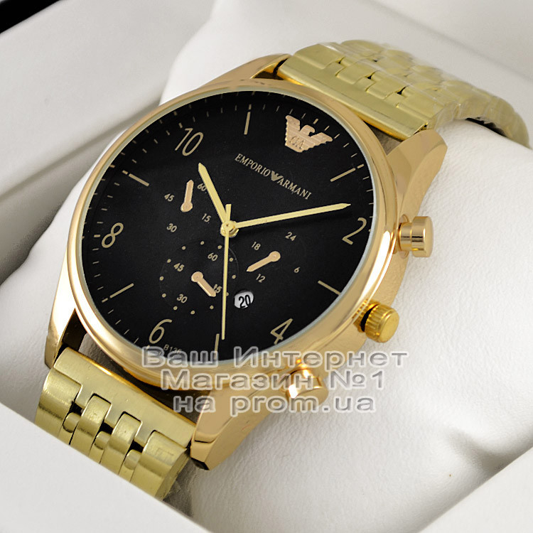 977c4c08 Мужские наручные часы Emporio Armani Quartz Gold Black Эмпорио Армани  качественная премиум реплика