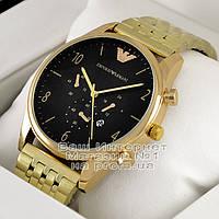 Мужские наручные часы Emporio Armani Quartz Gold Black Эмпорио Армани качественная премиум реплика, фото 1