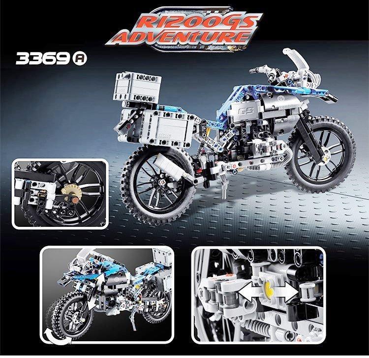 Конструктор Decool 3369 A Technic Мотоцикл легенда BMW R1200 GS 603 деталей