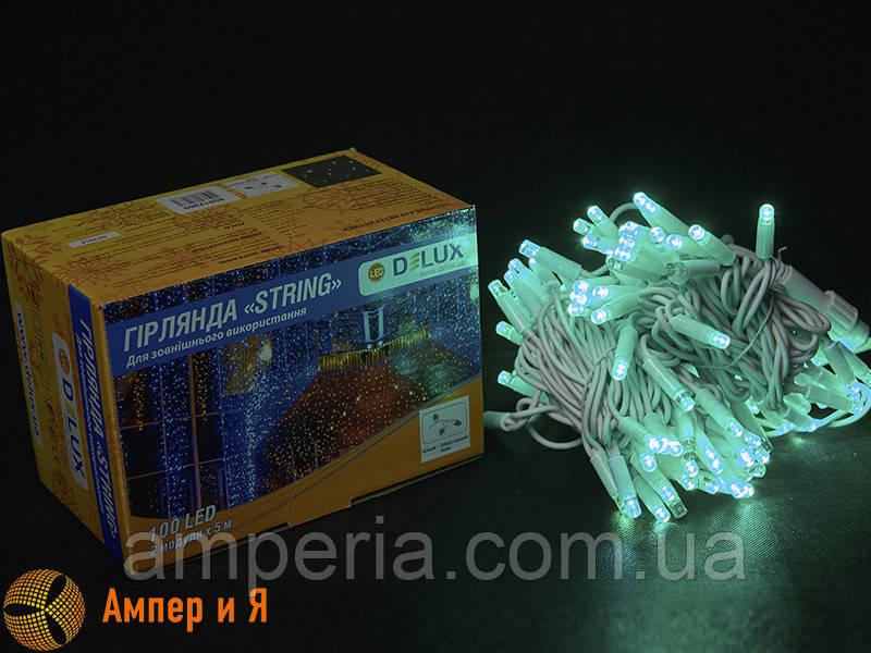 Гирлянда внешняя STRING 100 LED 10m (2x5m) 20 flash зелёный/белый IP44 EN DELUX