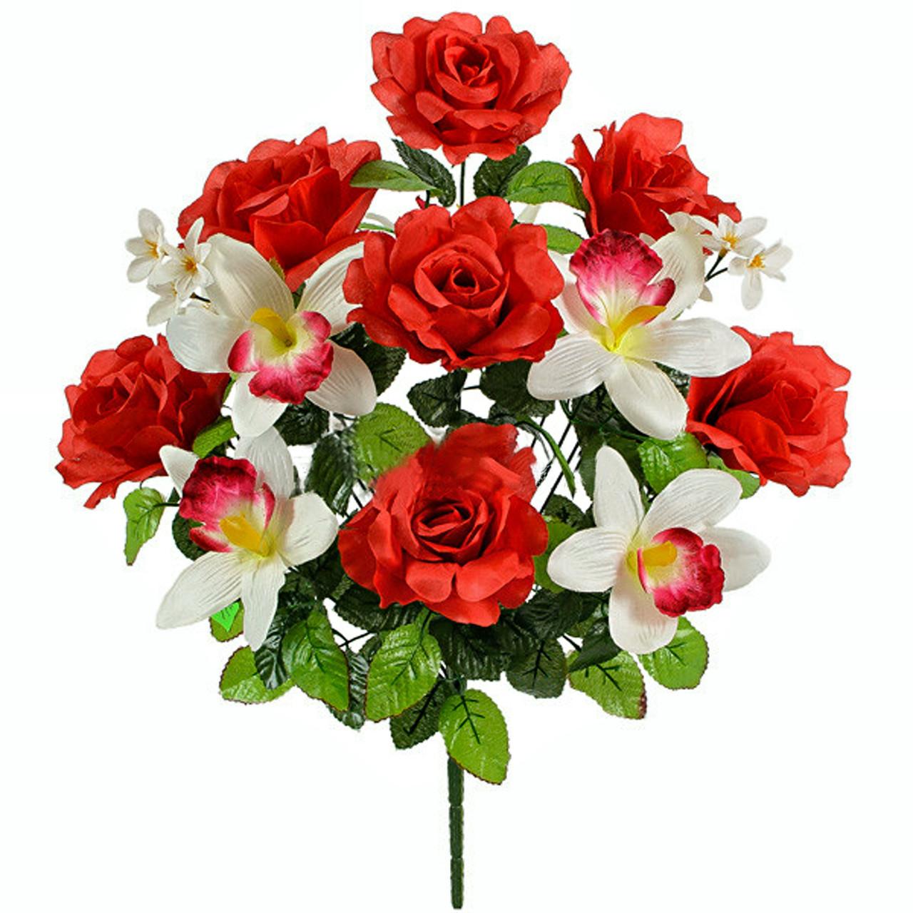 Букет искусственных роз и орхидей Шик, 55см