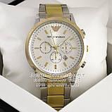 Мужские наручные часы Emporio Armani Quartz Silver Gold White Эмпорио Армани качественная люкс реплика, фото 2