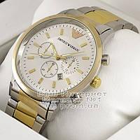 Мужские наручные часы Emporio Armani Quartz Silver Gold White Эмпорио Армани качественная люкс реплика, фото 1