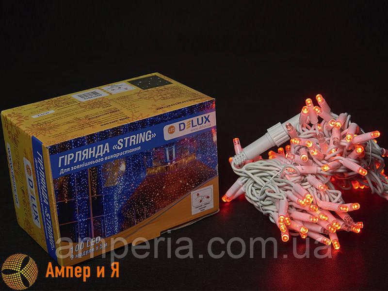 Гирлянда внешняя STRING 100 LED 10m (2x5m) 20 flash красный/белый IP44 EN DELUX