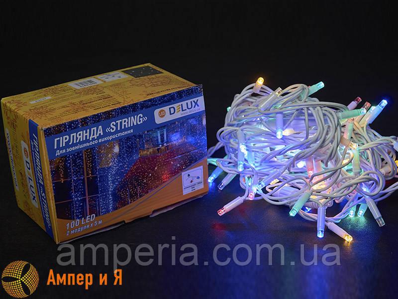 Гирлянда внешняя STRING 100 LED 10m (2x5m) 20 flash мульти/белый IP44 EN DELUX