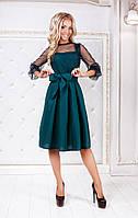 Темно-изумрудное нарядное платье-миди с юбкой в складку и прозрачными рукавами. Арт-3008/91