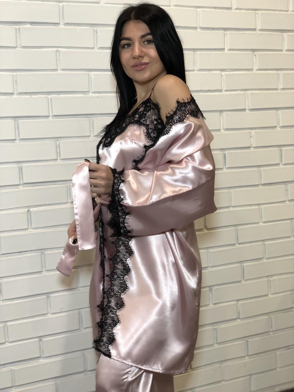 Нежный домашний комплект-тройка: халат + майка и штаны