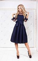 Темно-синее нарядное платье-миди с юбкой в складку и прозрачными рукавами. Арт-3008/91