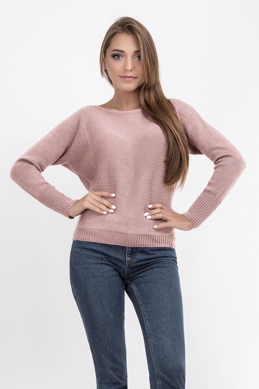 Стильный женский свитер джемпер горловина с вырезом формы лодочка