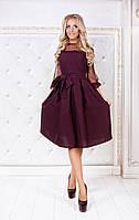 Бордовое  нарядное платье-миди с юбкой в складку и прозрачными рукавами. Арт-3008/91