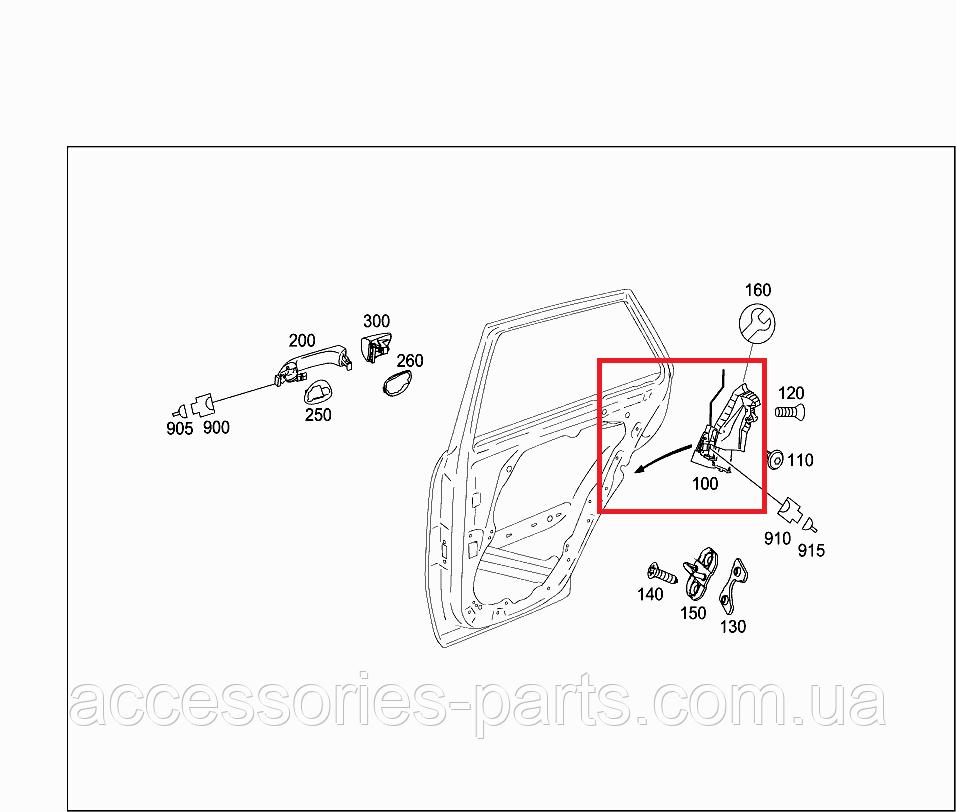 Замок задней правой двери Mercedes-Benz ML-Class W164 Новый Оригинальный