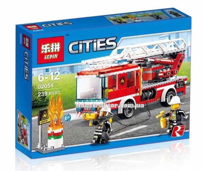 """Конструктор Lepin 02054 """"Пожарный автомобиль с лестницей"""" 239 деталей. Аналог LEGO City 60107"""