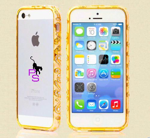 Позолоченный бампер чехол для смартфона Iphone Айфона 4 4s со стразами Металлический