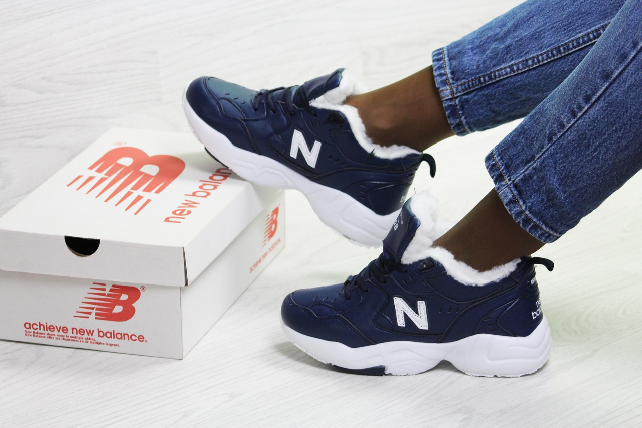 Зимние женские кроссовки New Balance 608,темно синие