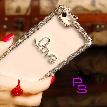 Милый романтичный чехол бампер с надписью и стразами для смартфона телефона Iphone Айфона 5 5s