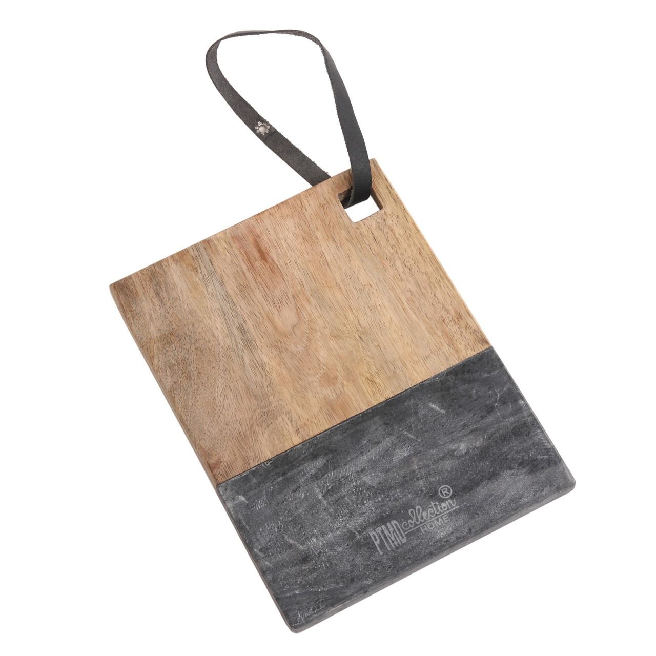 Доска для сыра PTMD  BRASE Wood & black marble S 677960-PT