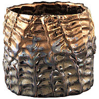 Кашпо DRUPY Pot round m bronze_matt_petrol 670588-PT PTMD Collection