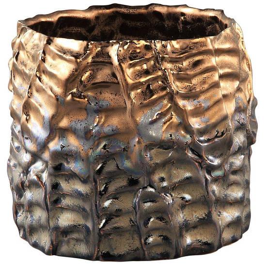 Кашпо DRUPY Pot round s bronze_matt_petrol 670587-PT PTMD Collection