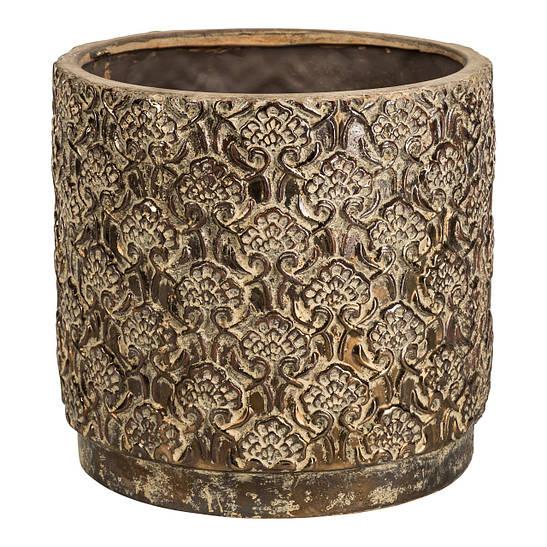 Кашпо JAYA Pot motif round xxl gold_Foil 672397-PT PTMD Collection