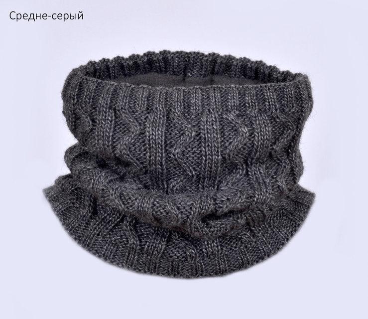 Зимний шарф-хомут  от 2 лет на деток  цвет  темно серый