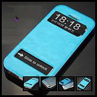 Голубой кожаный чехол бампер для  телефона Iphone Айфона 5 5s