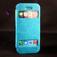 Голубой кожаный чехол бампер кейс для  смартфона телефона Iphone Айфона 5 5s