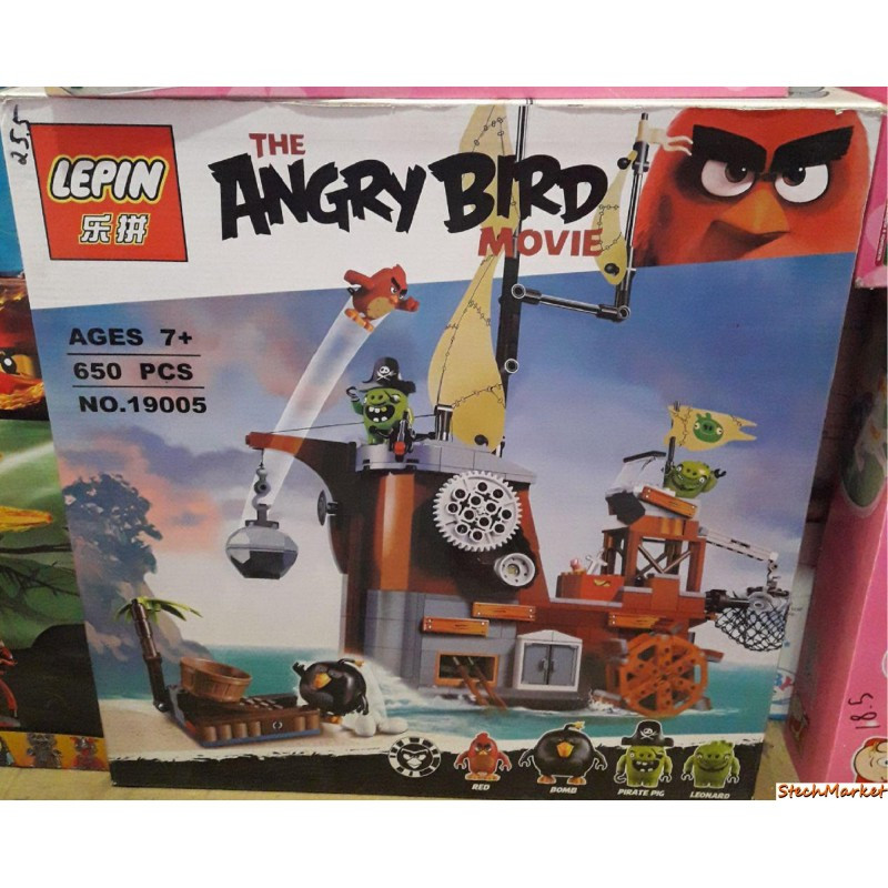 """Конструктор """"Пиратский корабль свинок"""" Angry Birds Lepin 19005 650 деталей"""