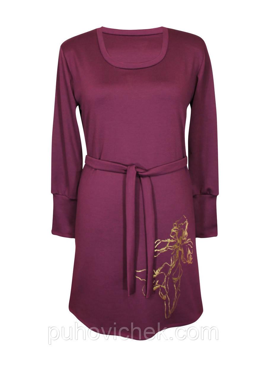 Теплое женское платье с длинным рукавом