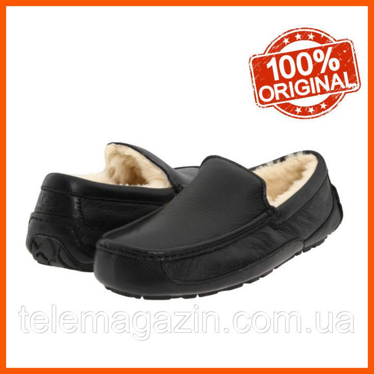 Мужские угги мокасины UGG Ascot Leather Black Кожаные Оригинал