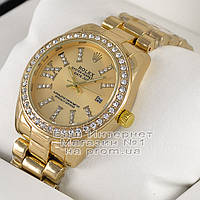 Женские наручные часы Rolex Oyster Perpetual Datejust Quartz Gold Gold Dimond Ролекс качественная реплика, фото 1
