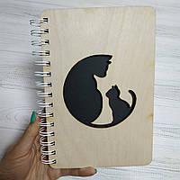 Блокнот с деревянной обложкой (Коты)