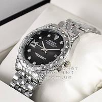 Мужские наручные часы Rolex Oyster Perpetual Datejust Quartz Silver Black Dimond Ролекс люкс реплика, фото 1