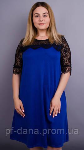 Лайза. Красива сукня великих розмірів. Синій електрик  продажа b0de5280f5c7c