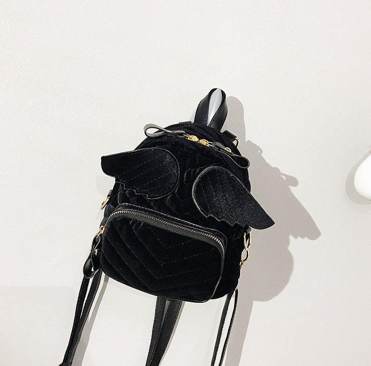 251fefbae1b7 Черный маленький велюровый рюкзак с крыльями - Bigl.ua