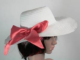 Женская соломенная шляпа Инегал 40 см зеленый розовый белый Украшена бантом из ленты Качественная Код: КГ6762