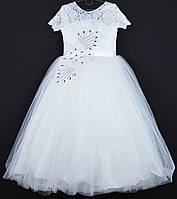 """Платье нарядное детское """"Цветок"""" с аппликацией 10-12 лет. Молочное. Оптом и в розницу"""