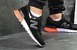 Мужские весенние кожанные кроссовки New Balance 574 черно белые, фото 2