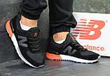 Мужские весенние кожанные кроссовки New Balance 574 черно белые, фото 3