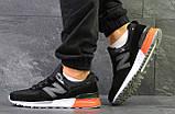 Мужские весенние кожанные кроссовки New Balance 574 черно белые, фото 4