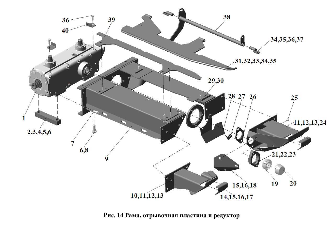 Рама, отрывочная пластина и редуктор