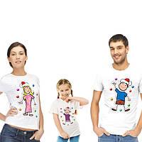"""Комплект футболок для всей семьи """"Новогодние человечки"""""""
